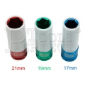"1/2""DR IMPACT WHEEL NUT SOCKET COLOR ELECTRICAL PLATED +PP-PROTECTOR 17-19-21MM